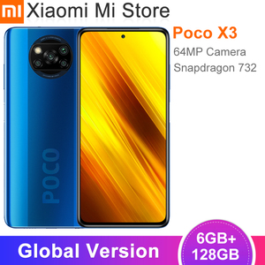 Глобальная версия смартфона Xiaomi Poco X3 NFC, 6 ГБ ОЗУ 128 Гб ПЗУ, Восьмиядерный Snapdragon 732G, 64 мп, 5160 мАч, аккумулятор 33 Вт, быстрая зарядка