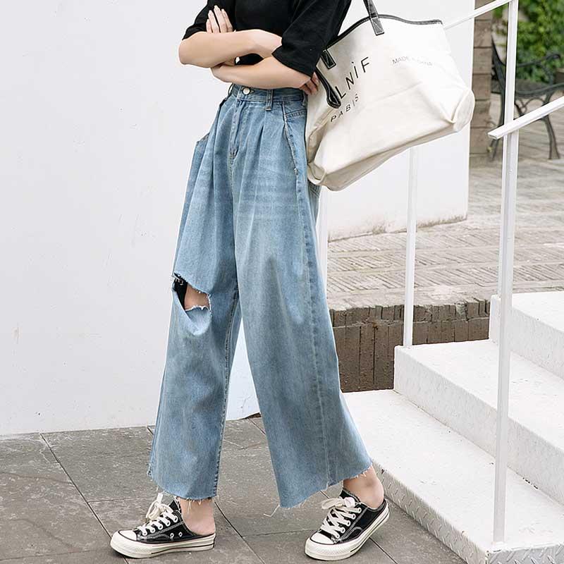 Women's Jeans New Summer Loose Wide Leg Denim Trousers Hole Hanging Pants Women's High Waist Women's Casual Blue Straight Jeans