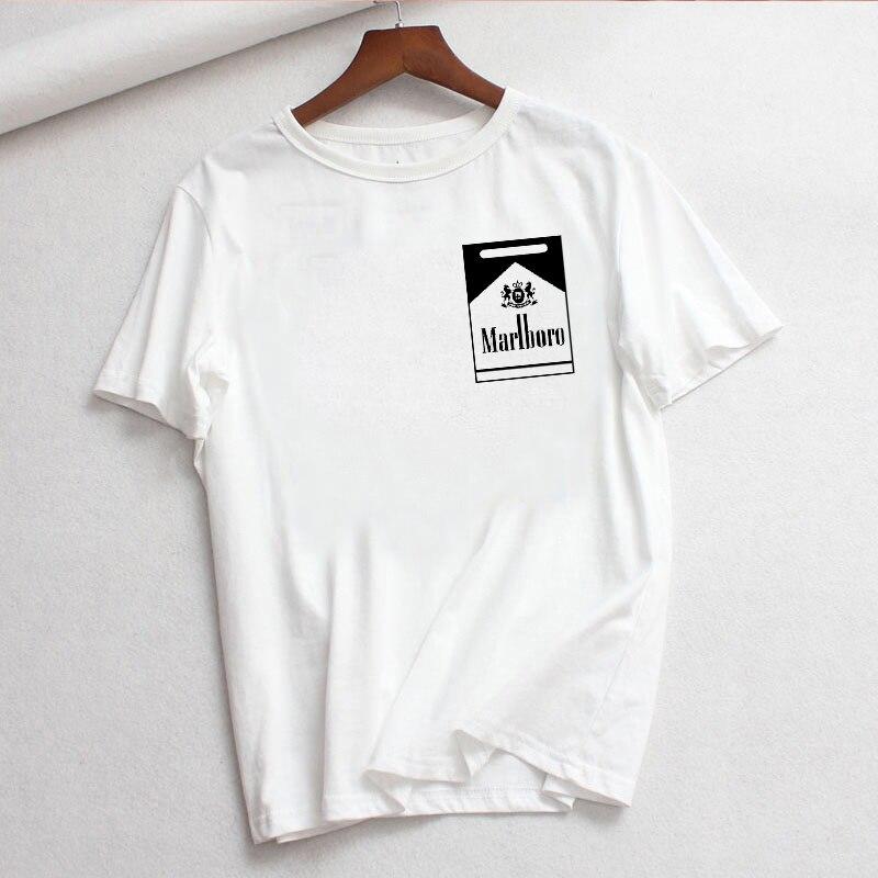 LUSLOS Women T Shirt Short Sleeve Casual White Tshirt Marlboro Printed Female Tee Tops Streetwear Women Clothes Harajuku