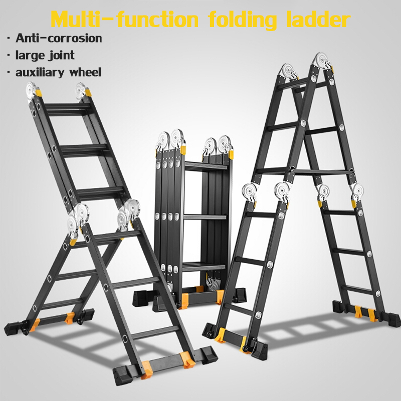 Straight Ladder 3.7 M Multi-function Folding Ladder Aluminum Ladder Ladder Home Lift Straight Ladder Engineering Ladder