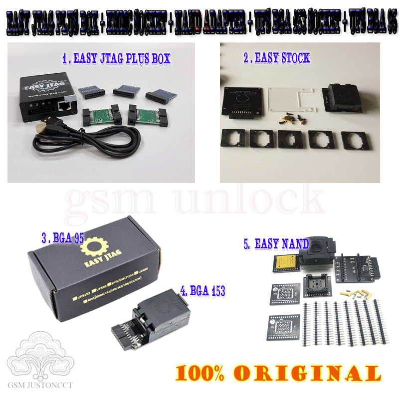 Z3x Pro Set 2020 Original New Easy Jtag Plus Box + Emmc Socket + Nand Adapter + Ufs Bga 153 Socket + Ufs Bga 95 Socket Adapter