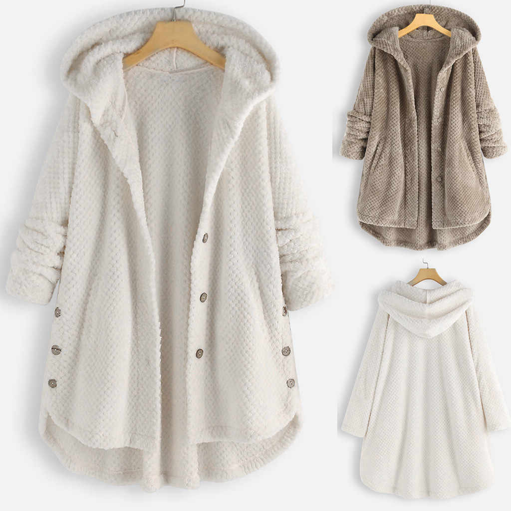 Plus Size Witte Vrouwen Jas Fleece Onregelmatige Lange Mouwen Button Pocket Kapmantel Winter Casual Outdoor Losse Causale Jas # g2