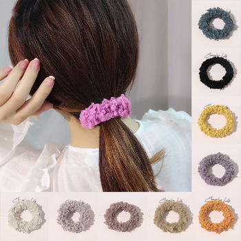 Autumn Winter Plush Hair Scrunchies Women Elastic Hair Band Candy Color Lamb Wool Hair Rope Fluffy Hair Ring Hair Accessories image
