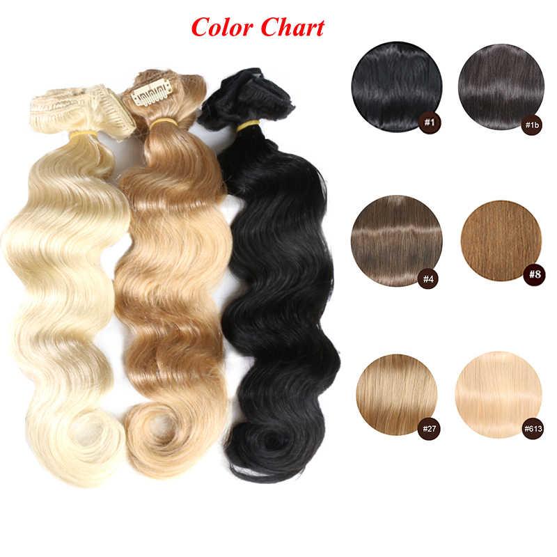 QHP pełna głowa brazylijski maszyna wykonane Remy włosy #1 # 1B #4 #8 #613 #27 #32 ciało fala klip w ludzkich włosów rozszerzenie