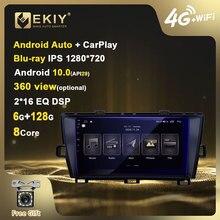 Ekiy blu-ray ips dsp 6g + 128g android 10 para toyota prius 2009-2015 rádio do carro reprodutor de vídeo multimídia gps navi estéreo carplay bt