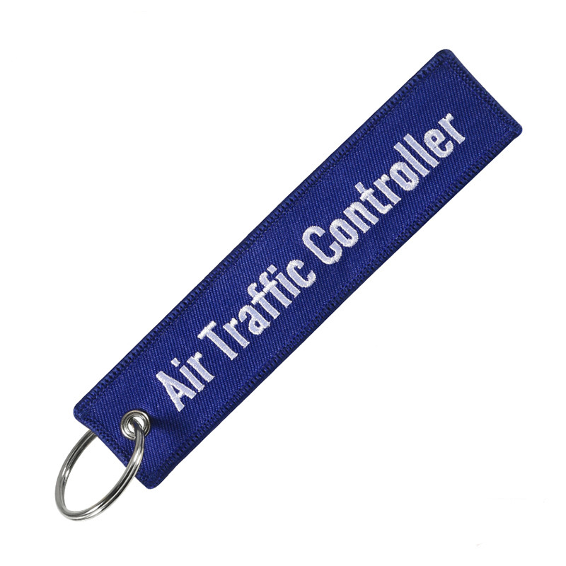 Remove Before Flight ATC Key Chain Jewelry Embroidery Blue Black Air Traffic Controller Key Ring Chain For Fashion Keychains