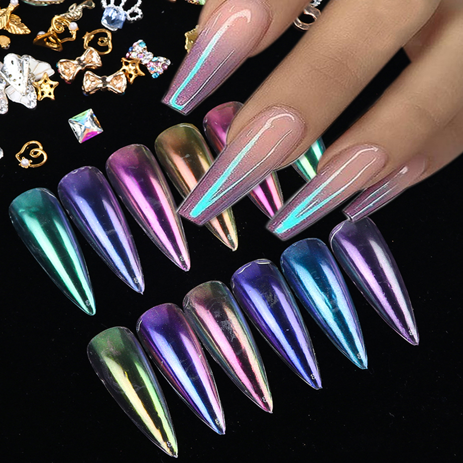 0 5g Mirror Nail Glitter Powder Transparent Ice Nude Chameleon Dust UV Gel Pigment Aurora Powder Nail Art Decorations BEJK01 12 in Nail Glitter from Beauty Health