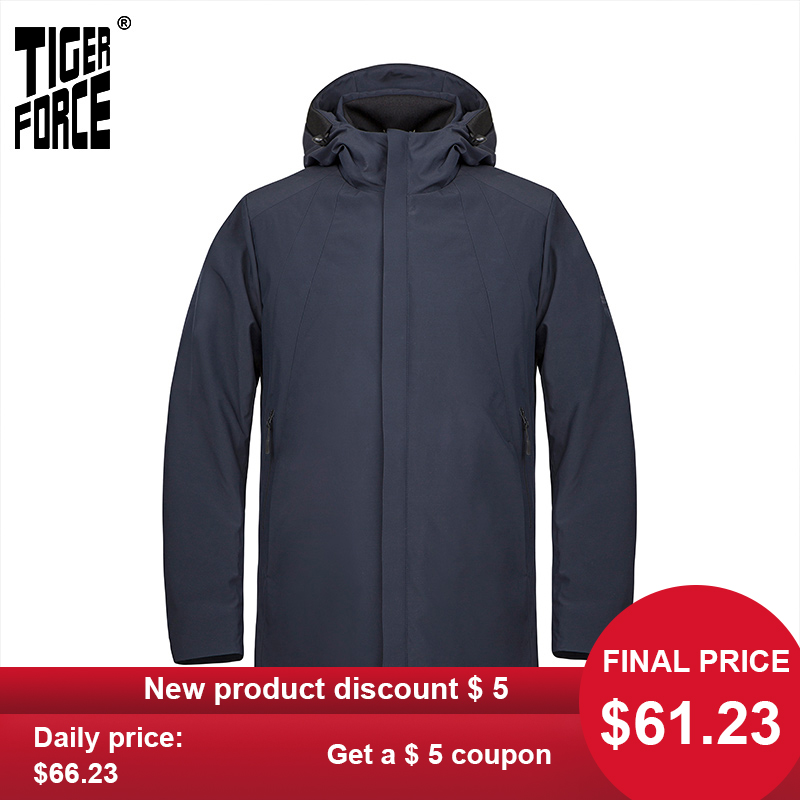 TIGER FORCE  2020 New Spring Men's Jacket Quality Medium-Long Casual Warm Male Hooded Coat Business Men Clothing  Parka 50621