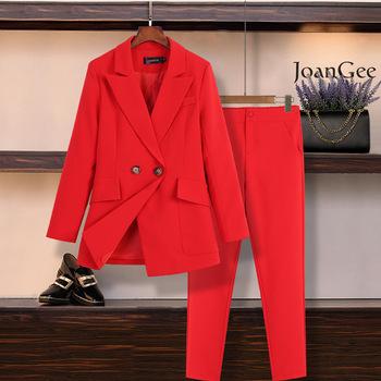 M-5XL duży rozmiar damski garnitur zestaw spodni nowa jesienna i zimowa casual profesjonalna czerwona marynarka spodnie typu Casual zestaw dwóch tanie i dobre opinie OLOMM COTTON Poliester Cotton Polyester REGULAR Ścięty Przycisk fly WOMEN Podwójne piersi Pant suits Pełna Formalne