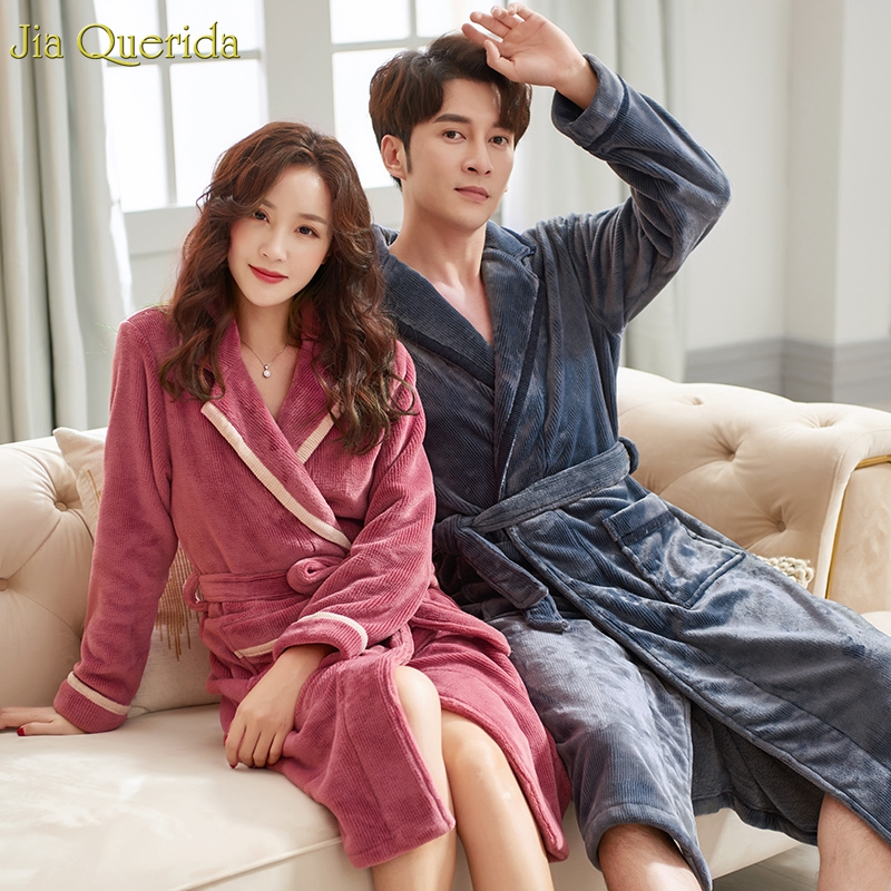 Bath Robes Couple Sleepwear Long Sleeves Lapel Belted Flannel Kimono Men And Women Matching Home Clothing Winter Warm Nightgowns