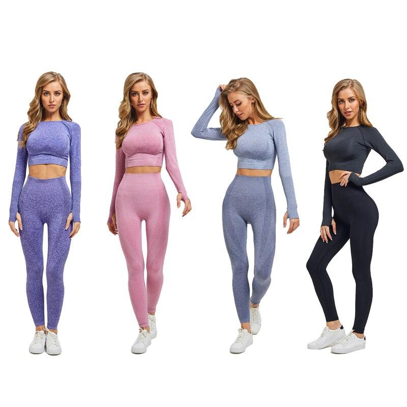2 pcs Women Seamless Yoga Set Gym Clothing Fitness High Waist Leggings Crop Top Shirts Sport Suit Workout Pants Active Wear