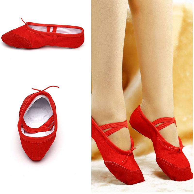leather / fabric indoor exercise shoes pink yoga practice slippers gym children canvas ballet dance shoes girls woman chi