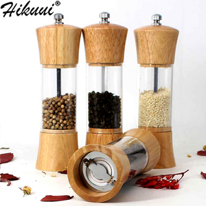6 inch Wood Acrylic Spice Pepper Mill with Strong Adjustable Ceramic Grinder Home Kitchen Tools For Cooking