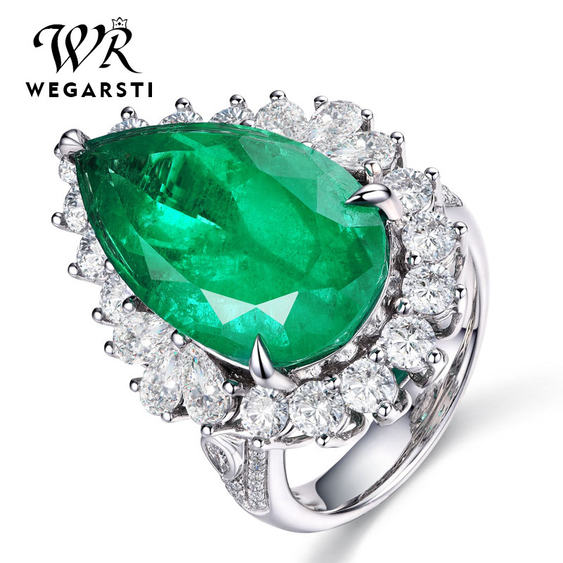 WEGARSTI Green Emerald Gemstone Rings For Women Engagement Wedding Promise Ring 925 Sterling Silver Party Open Size Fine Jewelry