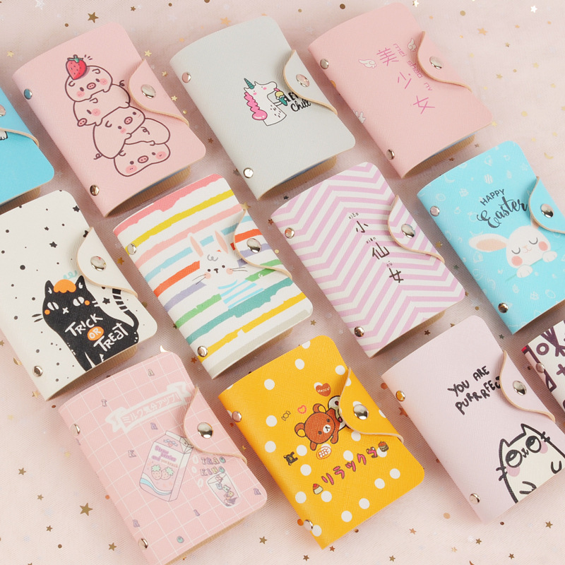 MIGO Cartoon 20 Bits Card Case PU Leather Business Card Holder  Animal Printing Women Credit Card Bag ID Passport Card Wallet