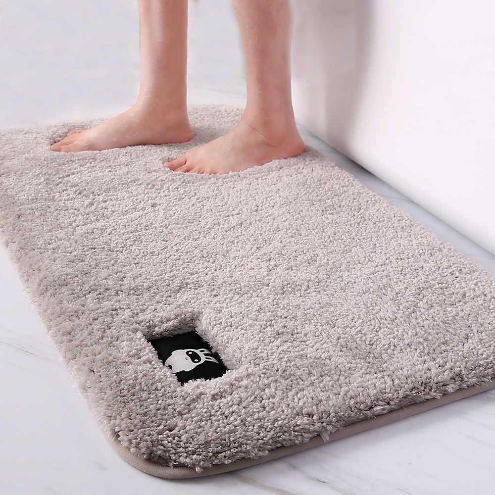 Tapete macio do banheiro tapete antiderrapante tapetes de banho e tapete lavável retângulo tapete de banho tapetes de microfibra macio casa tapete
