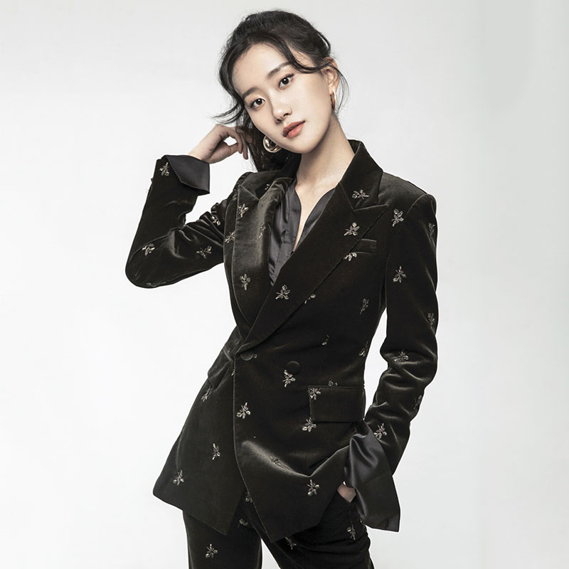 2020 Spring European Style Embroidery Flower Blazers Pants Suit Notched Black Velvet Slim Tracksuit Plus Size Blazer LT833S30