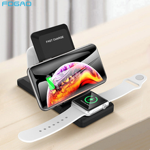 Wireless Charger Station 3 in 1 Foldable Stand Pad 15W Qi Fast Charging Dock for Airpods Pro Apple Watch 5 4 3 iPhone 11 XS XR 8