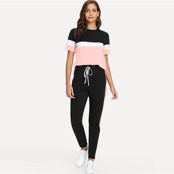 цена на Fanco Color Block Tee And Drawstring Tape Pants Set Streetwear Short Sleeve Women Tracksuit  Spring Casual 2 Piece Set
