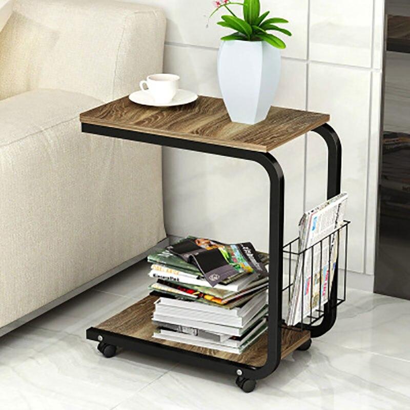 Moderna simplicidad dormitorio sala de estar mesa de noche móvil Mini sofá cama gabinete mesa de centro pequeña - 4