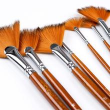 9Pcs Fan Head Wood Nylon Hair Paint Brush Set Artist Painting Brushes for Watercolor Acrylic Oil Drawing Art Material Supplies
