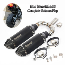Slip On Motorcycle Exhaust Muffler Pipe Mid Connect Link Pipe + Exhaust Mufffler Tail Pipe For Benelli 600 Under Seat Modified цена в Москве и Питере