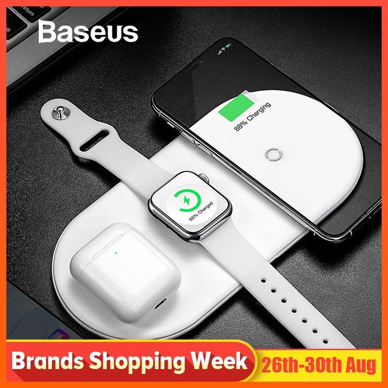Chargeur sans fil Baseus pour iPhone X XS MAX XR 8 charge complète sans fil rapide 3 en 1 chargeur pour Airpods 2019 Apple Watch 4 3 2