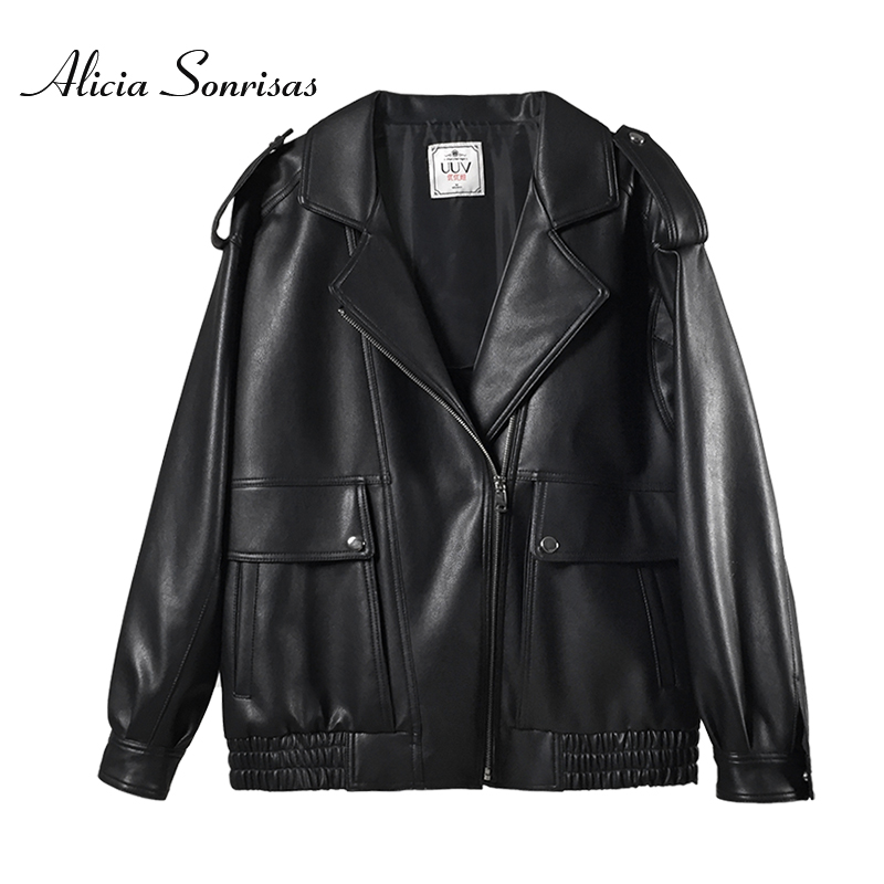 2019 Autumn Winter   Leather   Jacket Women Short Black Motorcycle Pu Faux   Leather   Jackets Fashion Pockets Coats Blouson Cuir Femme