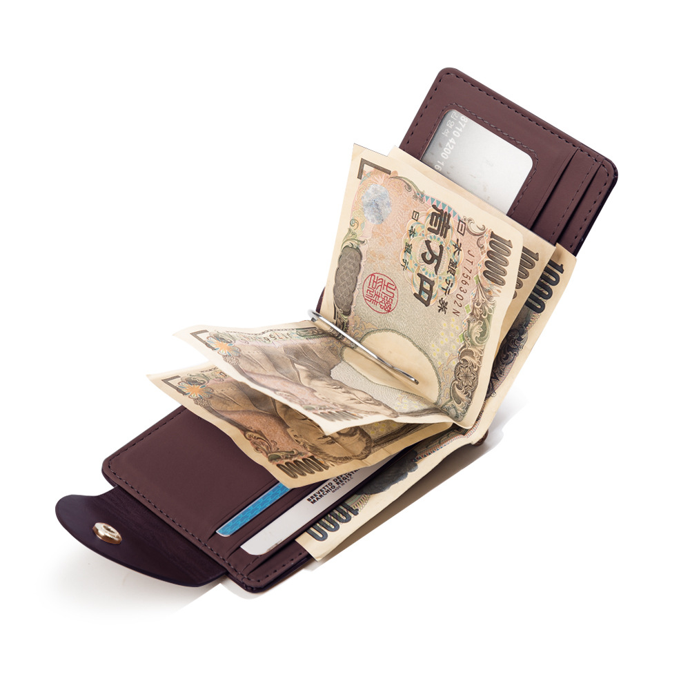 Men's short wallet new PU leather wallet fashion men's wallet Korean version of the buckle US money folder ID wallet image