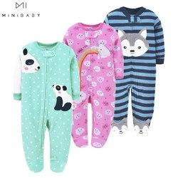 Детская одежда для девочек, мягкая флисовая Пижама для новорожденных мальчиков и девочек