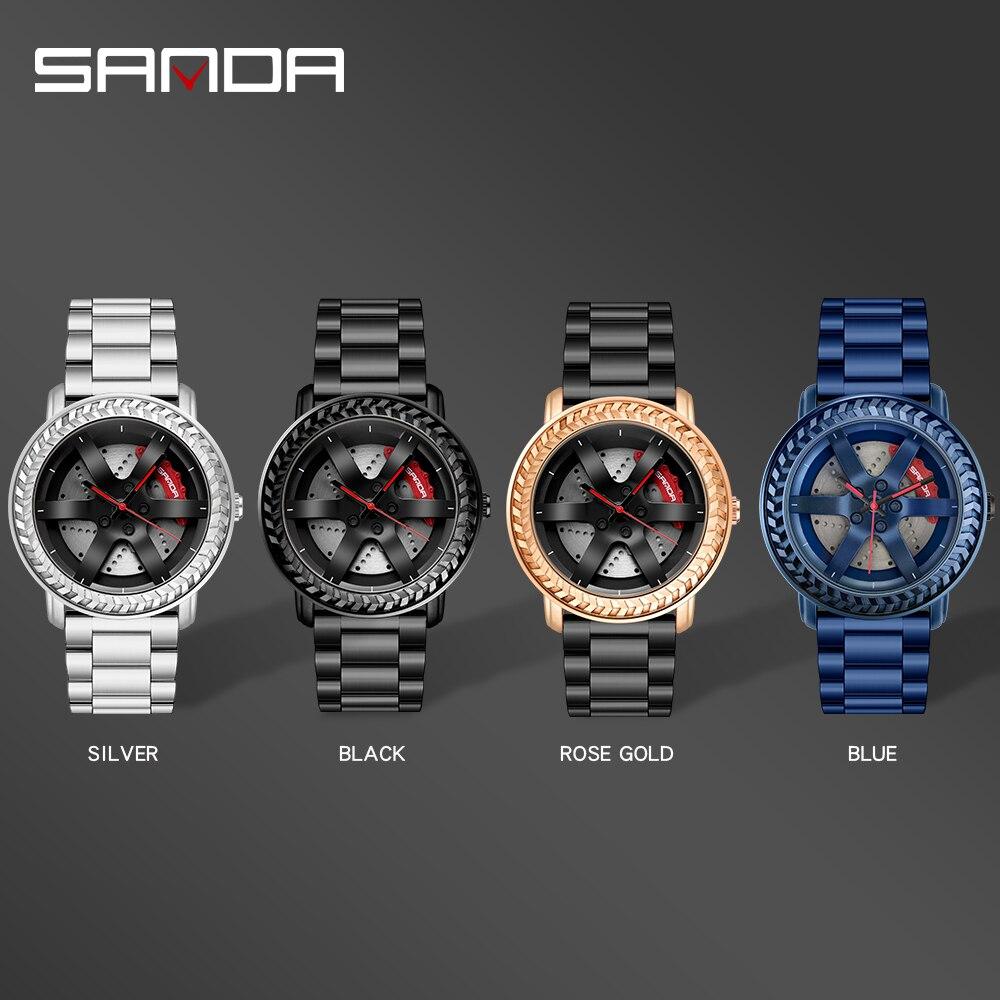 Купить sanda новые часы с автомобильным колесом военные кварцевые наручные