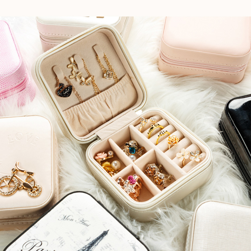 Travel jewelry storage box makeup organizer Jewelry box for jewelry casket Earrings case Portable jewellry packing birthday Gift makeup organizer box
