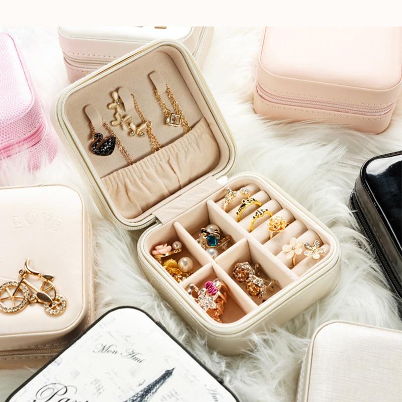Travel jewelry storage box makeup organizer Jewelry box for jewelry casket Earrings case Portable jewellry packing birthday Gift