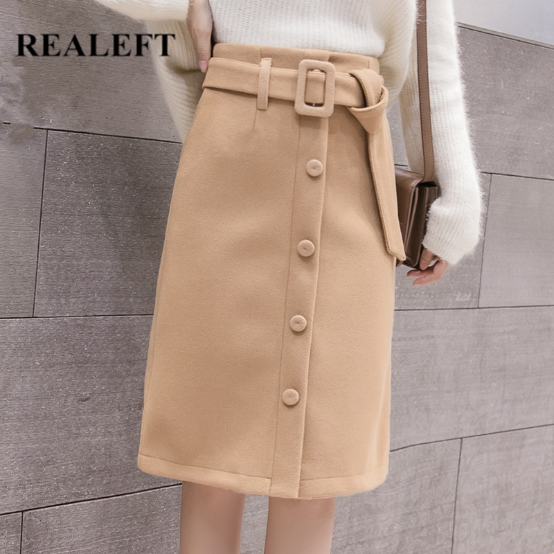 REALEFT 2019 New Women Khaki Autumn Winter Warm Woolen Midi Skirts High Waist Button Wrap Sexy A-Line Knee Skirts With Belt