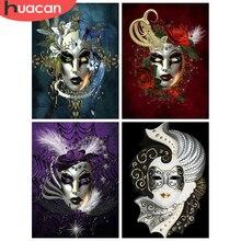 HUACAN – Kit de peinture diamant 5D, images de masque en strass, broderie de diamant à bricolage-même, point de croix, Portrait, mosaïque, Art mural