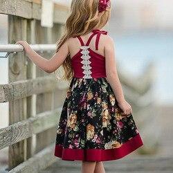 1-6 anos de idade meninas longo tornozelo vestido casual suspender verão praia ao ar livre vestidos sem mangas para o miúdo recém-nascido da criança meninas 1-6y