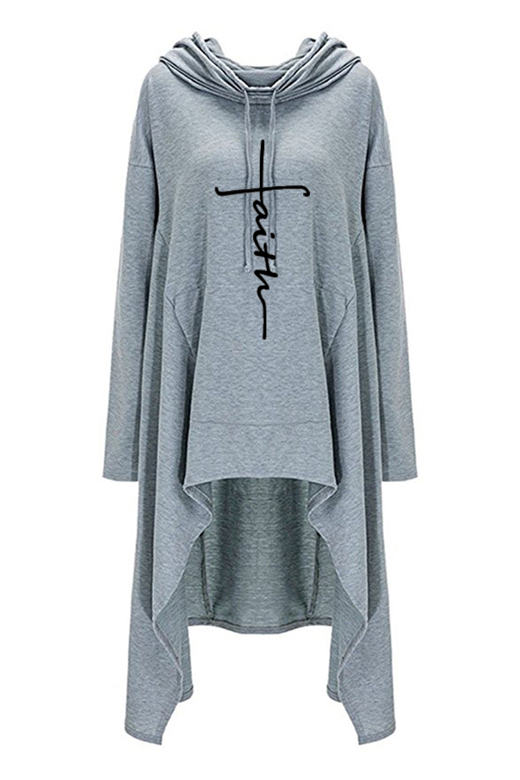 Hc7832727f2ae4a4998b1b5d0ef03894eq - New Faith Letter Embroidered Long Hoodies Women Long Sleeve Irregular Hem Pocket Sweatshirt Female Plus Size Pullover Tops
