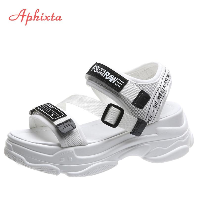 Aphixta 5cm platform women's sandals summer shoes buckle Slides casual sandals women's sports shoes summer sandalia mujer Middle Heels  - AliExpress