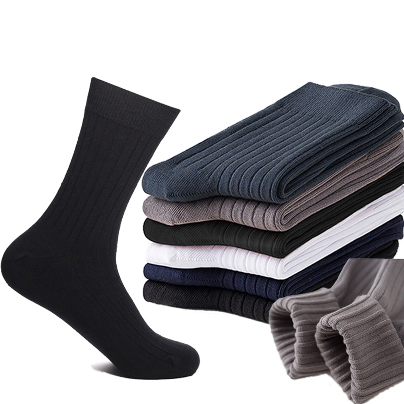 2019 New High Quality 100 Cotton Men Socks Casual Business Anti-Bacterial Deodorant Winter For Men Dress Socks Gifts Size39-44