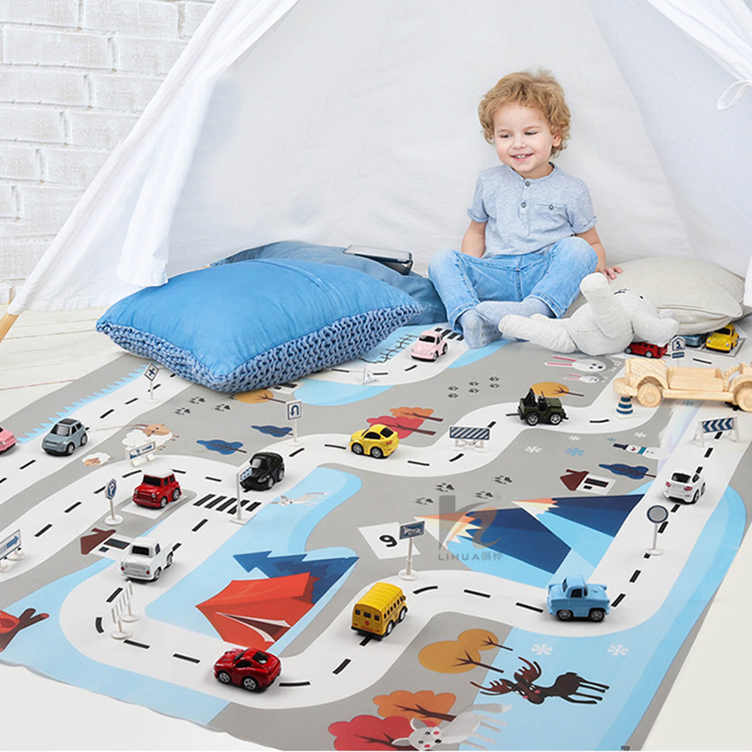 19pcs Kids City Road Playmat Taffic Carpet Highway Map Blanket City Scene Playing Crawling Game Mat With Traffic Road Signs Toy