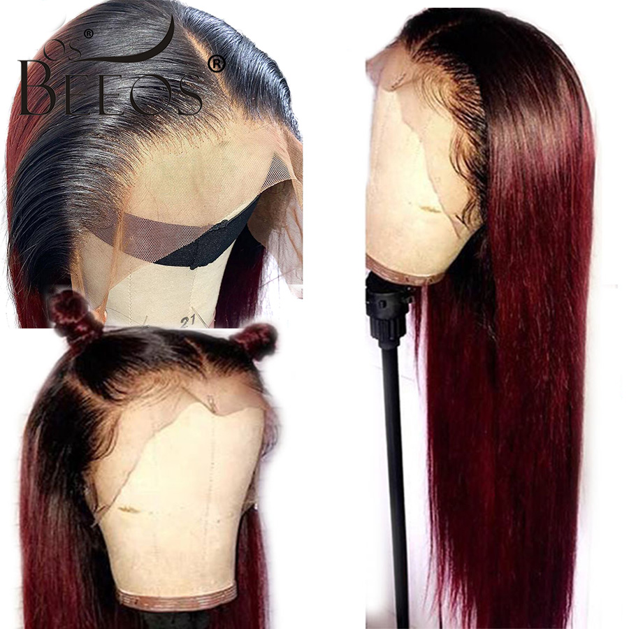 13*6 Deep Part Lace Front Human Hair Wigs Straight Omber Red 99J Brazilian Remy Hair Wigs Pre Plucked Bleached Knots For Women