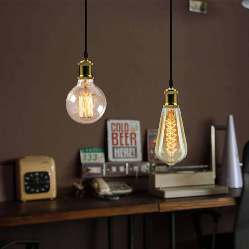 Base de lámpara Edison, lámpara colgante E27, base de bombilla con tornillo deco industrielle, Retro vintage lámparas colgantes de aluminio, lámpara para colgar Loft Nórdico