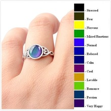 Hot creative temperature induction color ring European vintage retro flower boho moonstone engagement silver jewelry