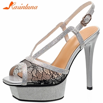 KARINLUNA Brand New Luxury Lady Party Sexy Sandals Crystal Platform Thin High Heels Sandals Women Genuine Leather Shoes Woman