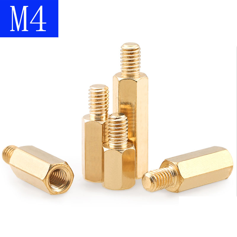 <font><b>M4</b></font> + 6mm Hex <font><b>Brass</b></font> Spacer Screw PC Case Motherboard <font><b>Standoff</b></font> Riser Female-Male Screws image