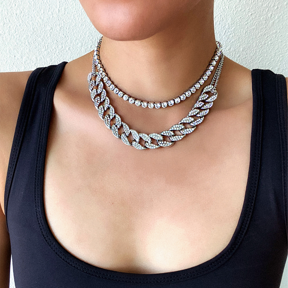 Cuban link chain iced out rhinestone choker women layered necklace set luxury chocker  necklaces 2020 jewellery accessories|Choker Necklaces|   - AliExpress