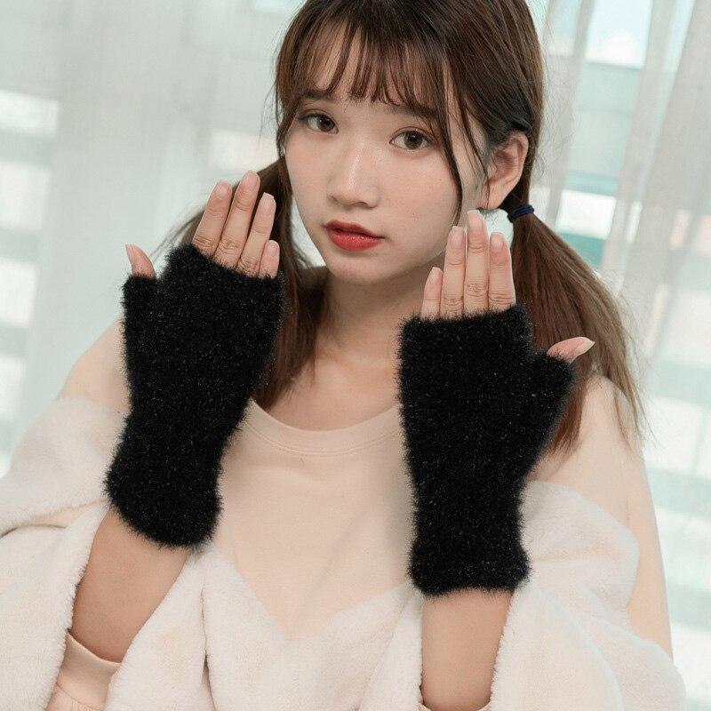 Lovely Female Winter Knit Wool Thicker Cashmere Velvet Warm Black Fingerless Mittens Cute Women Half Finger Gloves Guantes B31