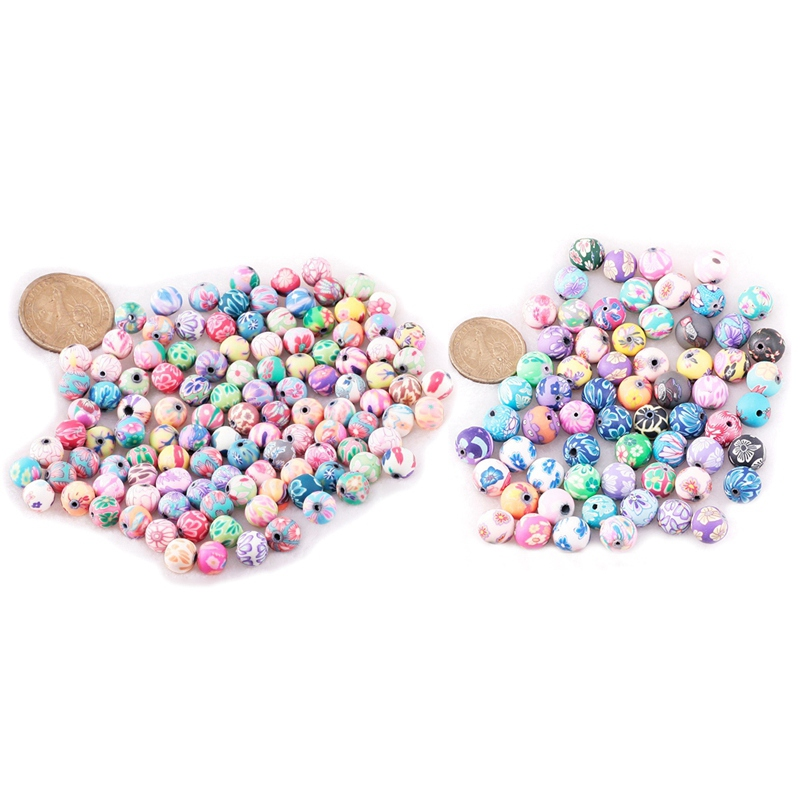 200 Pcs Beads Jewelry Accessory Ceramic Round Dia ,100 Pcs 12 Mm & 100 Pcs 10 Mm
