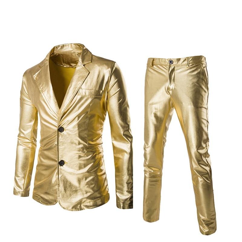 Hot Sale Coated Gold Silver Black (Jackets + Pants) Men Suit Sets Brand Dress Blazer Set Wedding Party  Show Shiny Clothes