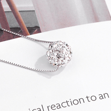 DISINIYA 925 Silver Ball Necklace women's 100% S925 pure silver L'Oreal 8mm-10 mm white AAA Crystal Blue Zircon Necklace